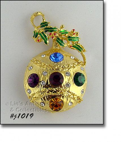 EISENBERG ICE ORNAMENT SHAPED PIN GOLD TONE WITH RHINESTONES