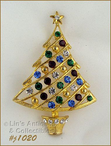EISENBERG ICE LARGE CHRISTMAS TREE PIN WITH MULTI COLOR RHINESTONES