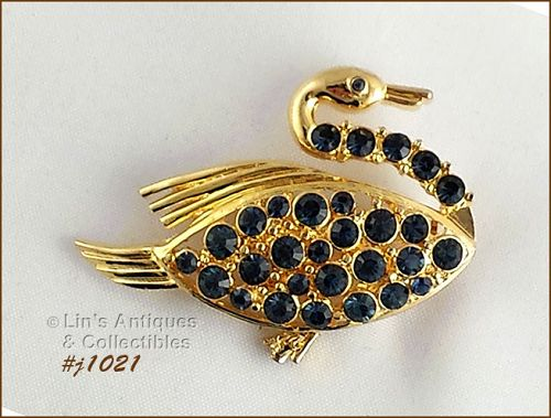 EISENBERG ICE SWIMMING SWAN GOLD TONE WITH SAPPHIRE BLUE RHINESTONES