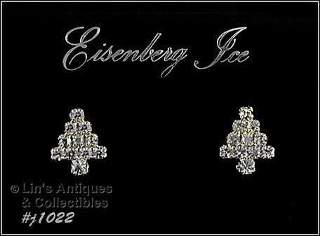 EISENBERG ICE AURORA BOREALIS AND CLEAR RHINESTONES TREE EARRINGS