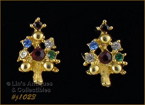 EISENBERG ICE CHRISTMAS TREE EARRINGS WITH MULTI COLOR RHINESTONES