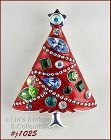 EISENBERG ICE CHRISTMAS TREE PIN WITH RED ENAMELING AND RHINESTONES