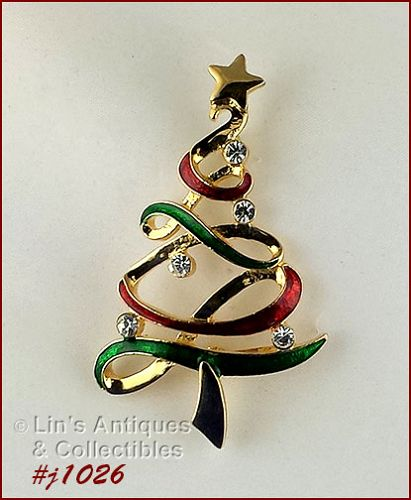 EISENBERG ICE RIBBON CHRISTMAS TREE PIN RED GREEN AND GOLD TONE
