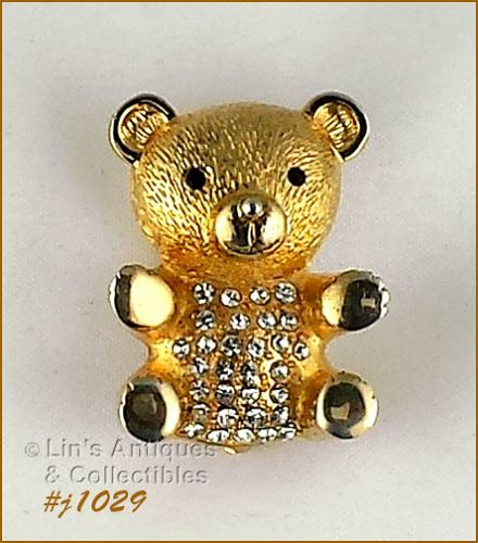 EISENBERG ICE TEDDY BEAR PIN GOLD TONE WITH CLEAR RHINESTONES