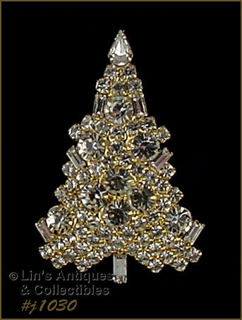 EISENBERG ICE CHRISTMAS CANDLE TREE PIN GOLD TONE AND CLEAR RHINESTONE