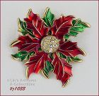 EISENBERG ICE RED POINSETTIA WITH GREEN LEAVES PIN