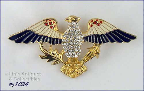EISENBERG ICE PATRIOTIC EAGLE PIN RED WHITE AND BLUE EAGLE