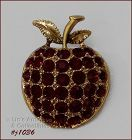 EISENBERG ICE APPLE PIN GOLD TONE WITH RED RHINESTONES