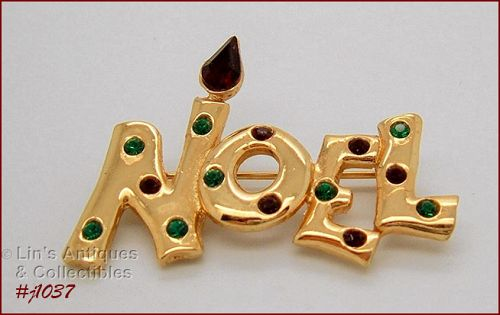 SIGNED EISENBERG ICE NOEL PIN GOLD TONE WITH RED AND GREEN RHINESTONES