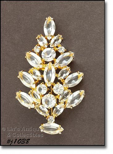 EISENBERG ICE CHRISTMAS TREE PIN WITH CLEAR RHINESTONES