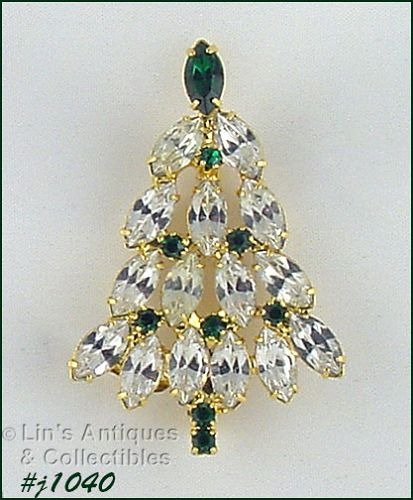 EISENBERG ICE CHRISTMAS TREE PIN WITH CLEAR AND GREEN RHINESTONES