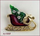 EISENBERG ICE CHRISTMAS SLEIGH SHAPED PIN FILLED WITH TREE AND WREATH