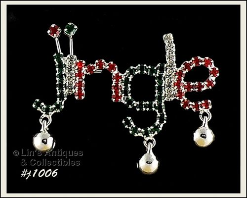 EISENBERG ICE JINGLE PIN WITH BELLS AND PRONG SET RHINESTONES