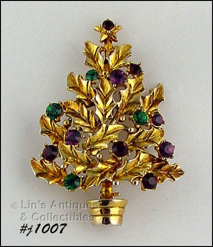 EISENBERG ICE HOLLY CHRISTMAS TREE PIN GOLD TONE WITH RHINESTONES