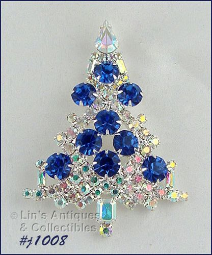 SIGNED EISENBERG ICE LARGE CANDLE TREE PIN AB AND BLUE RHINESTONES