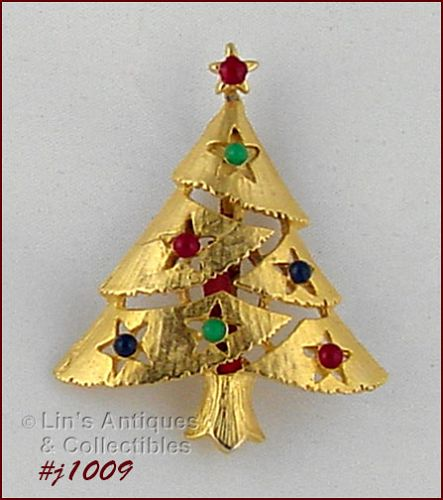 EISENBERG ICE CHRISTMAS TREE PIN WITH ENAMEL BEAD DECORATIONS