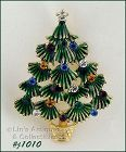 EISENBERG ICE GREEN BOUGH CHRISTMAS TREE PIN WITH RHINESTONES