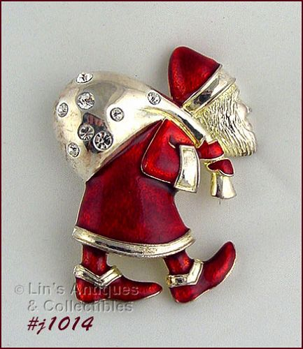 � EISENBERG ICE OLD WORLD SANTA PIN RED ENAMELING AND RHINESTONES