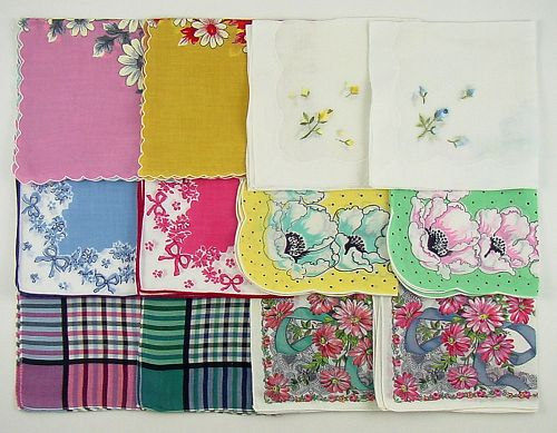 ONE DOZEN VINTAGE HANKIES LOT OF 6 MATCHING PAIRS OF HANDKERCHIEFS
