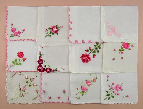 ONE DOZEN VINTAGE PINK AND SHADES OF PINK EMBROIDERED ROSES HANKIES
