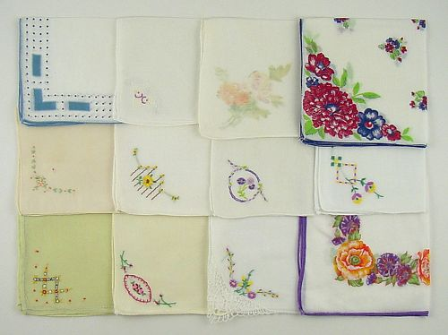 VINTAGE HANKY LOT OF ONE DOZEN ASSORTED VINTAGE HANKIES