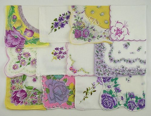 VINTAGE HANKY LOT OF ONE DOZEN ASSORTED PURPLE VINTAGE HANKIES