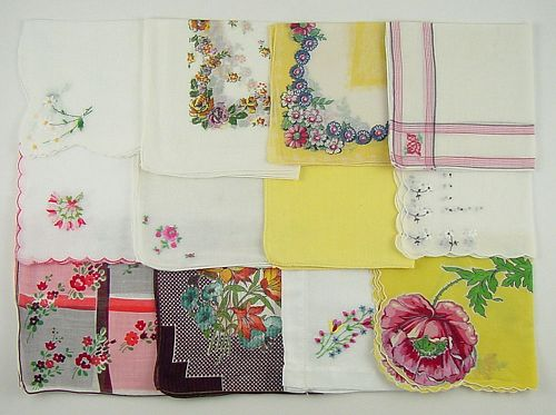 Hanky Lot of One Dozen Assorted Vintage Hankies Handkerchiefs
