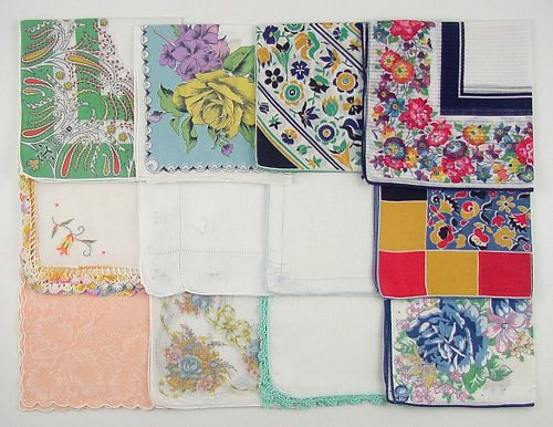 Vintage Handkerchief Lot One Dozen Hankies