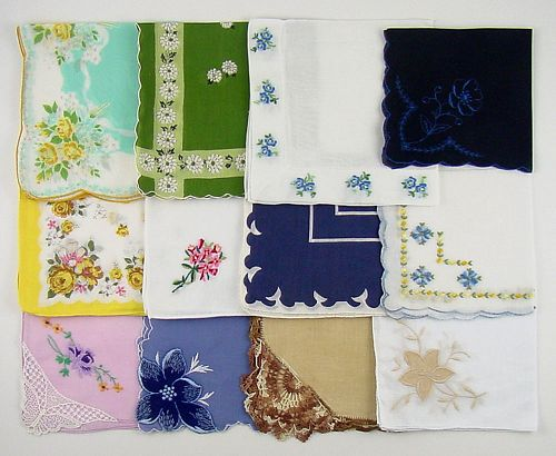 Vintage Hanky Lot of One Dozen Assorted Vintage Hankies Handkerchiefs