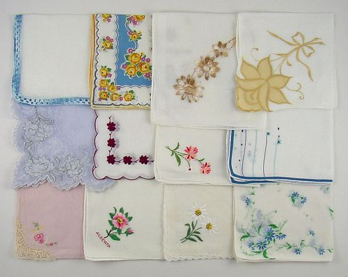 Vintage Hanky Lot One Dozen Hankies