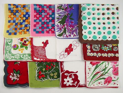 Vintage Hanky Lot of One Dozen Hankies