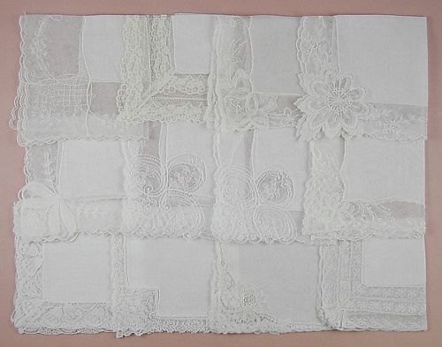 VINTAGE HANKY LOT OF ONE DOZEN WHITE WEDDING LACE EDGING HANDERKCHIEFS