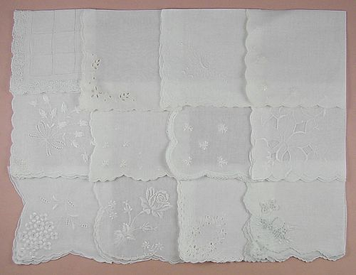 Lot of One Dozen Vintage White Wedding Hankies