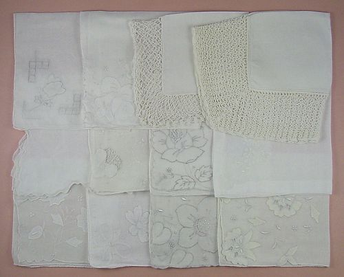 Vintage Hanky Lot One Dozen White Wedding Handkerchiefs