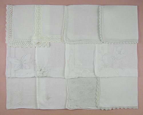 VINTAGE HANKY LOT ONE DOZEN WHITE WEDDING VINTAGE HANDKERCHIEFS