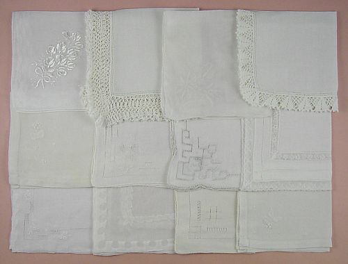 VINTAGE HANKY LOT OF ONE DOZEN WHITE WEDDING VINTAGE HANDKERCHIEFS