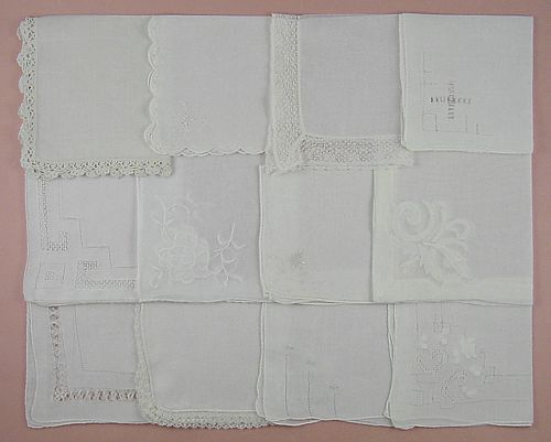 VINTAGE HANKY LOT OF ONE DOZEN WHITE WEDDING VINTAGE HANDKERCHIEFS