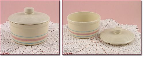 McCOY POTTERY PINK AND BLUE ROUND MARGARINE CONTAINER