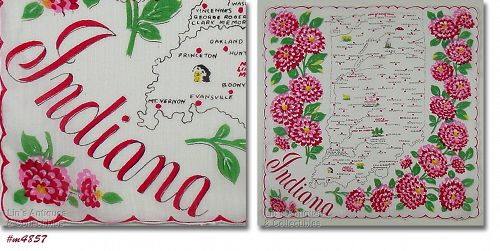 VINTAGE STATE SOUVENIR HANDKERCHIEF FOR INDIANA