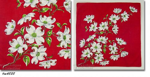 VINTAGE RED HANDKERCHIEF WITH WHITE DOGWOOD BLOOMS