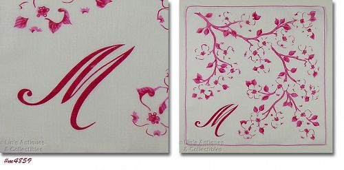 PINK MONOGRAM M HANKY WITH PINK AND WHITE DOGWOOD BLOOMS