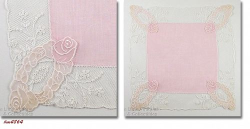 VINTAGE WEDDING HANKY PINK WITH PINK ROSE CORNERS AND LACE EDGING