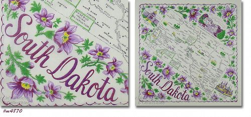 STATE SOUVENIR VINTAGE HANDKERCHIEF FOR SOUTH DAKOTA