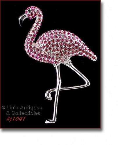 SIGNED EISENBERG ICE PINK RHINESTONES FLAMINGO PIN