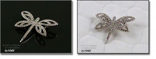 925 SILVER AND CLEAR RHINESTONES DRAGONFLY PIN