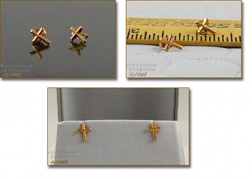 10K YELLOW GOLD CROSS SHAPE PIERCED EARRINGS