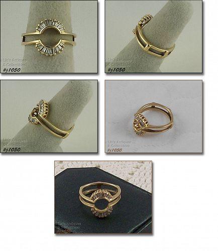 14K YELLOW GOLD .35CT DIAMOND RING GUARD RING ENHANCER SIZE 6 1/2