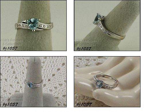 10K WHITE GOLD TRILLION CUT BLUE TOPAZ WITH DIAMOND ACCENTS RING