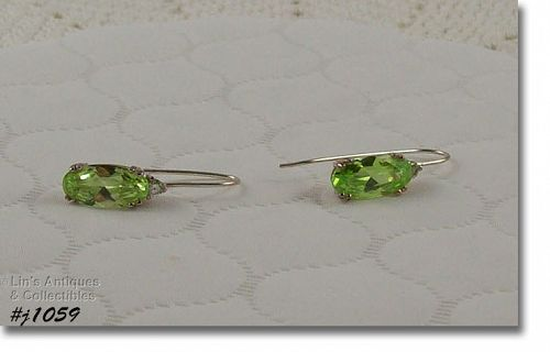 Silver 925 Pierced Earrings with Green Stones