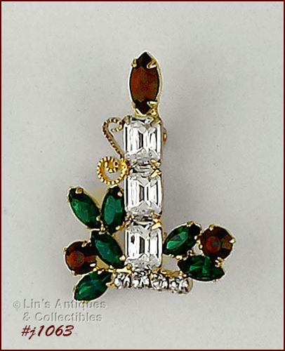 EISENBERG ICE RHINESTONE CANDLE PIN WITH RHINESTONE HOLLY